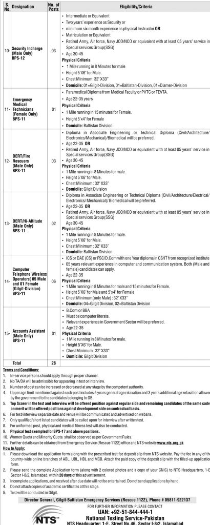 Rescue 1122 Gilgit Baltistan Jobs 2016 December NTS Application