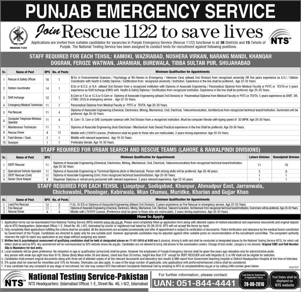 PES Rescue 1122 NTS Jobs June 2016