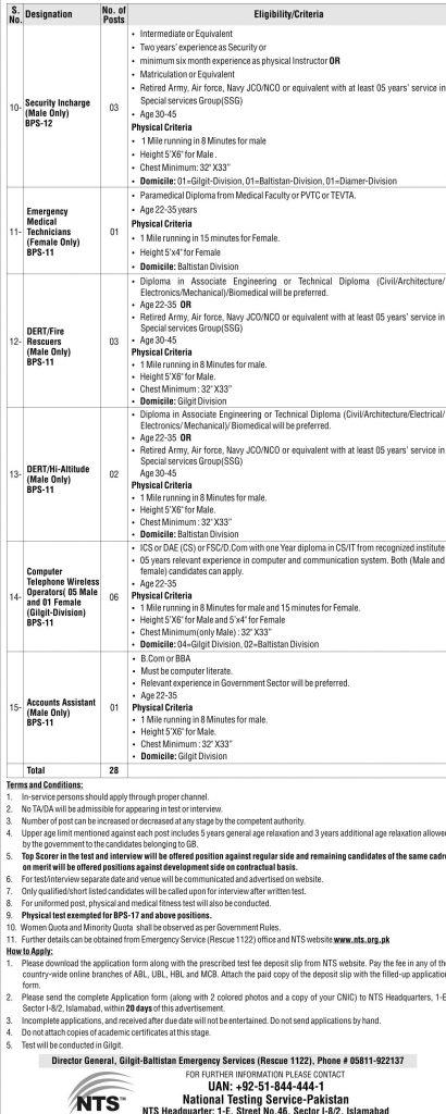 Rescue 1122 Gilgit Baltistan Jobs 2016 December NTS Application