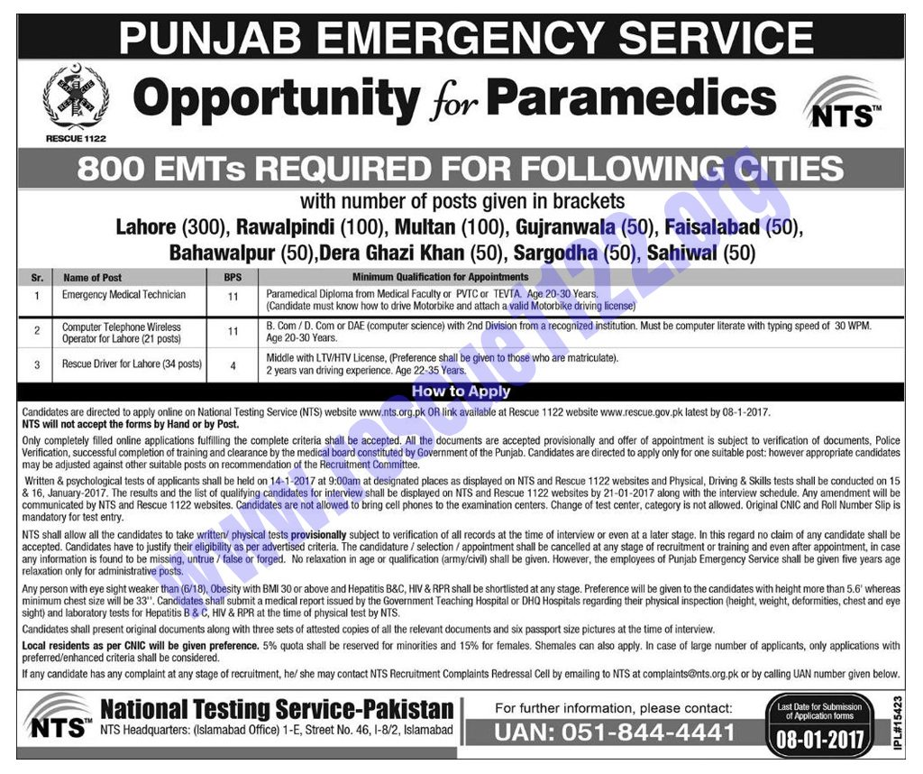 Motorcycle ambulance plan in rescue 1122 jobs 2017