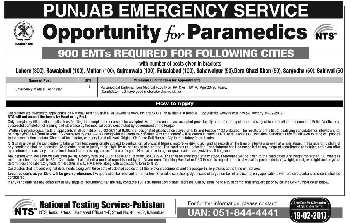 Rescue 1122 EMT NTS Jobs in last Date: 25, April 2018 | A Rescuer