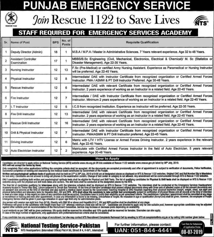 Rescue 1122 Punjab Emergency Service Jobs 22 June 2019 Via NTS