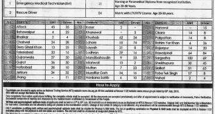 Punjab Emergency Service Rescue 1122 Vacancies June July 2019