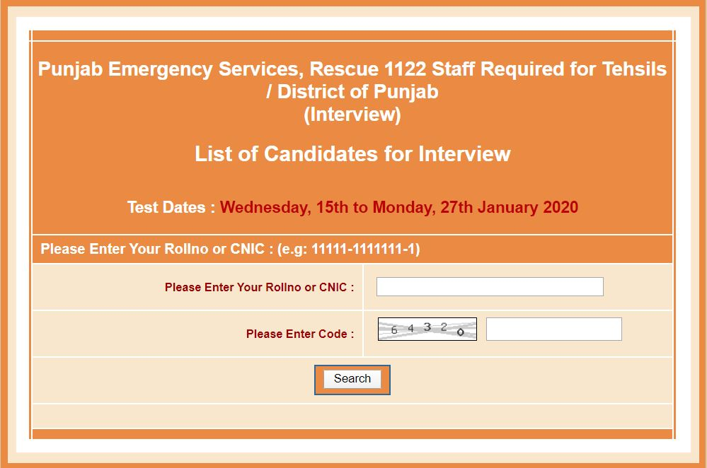 Interview list January 2020 Rescue 1122